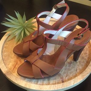 Brown Leather Heels with Red Trim Boden Size 6